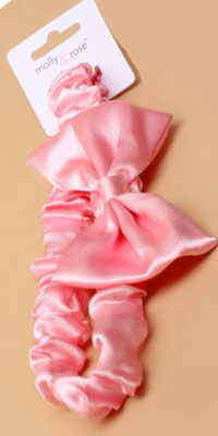 Bandeau / pink satin fabric child size bandeau with bow.