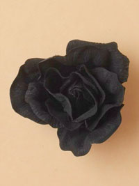 Clip / Fabric Black rose on a forked clip.