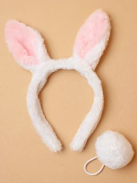 Alice band / White furry fabric bunny rabbit ears and tail.