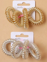 Scrunchie / 4Pk Small silver / gold telephone cord elastics.