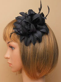 Fascinator / Jasmin - Black fabric flower on a clip.