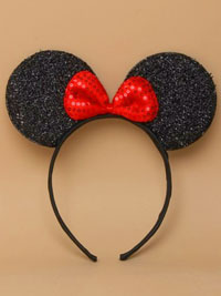 Alice band / Black Mouse ears with bow on an alice.