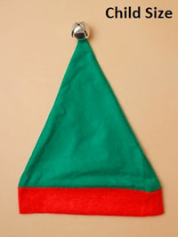Xmas / Child Size Elf hat in green and red with silver bell.