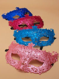 Mask / Glitter filligree mask with black ribbon ties
