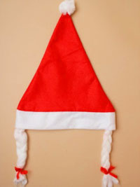 Xmas / Red Santa girl hat with plaits.