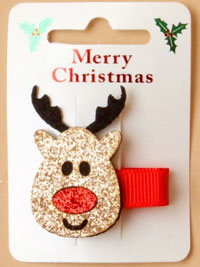 Xmas / Glitter reindeer motif on a 3.5cm forked clip.