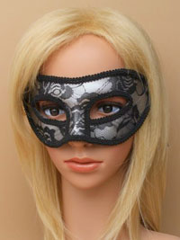 Mask / Black lace silver masquerade mask.