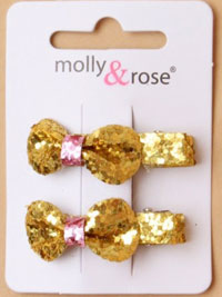 Clips / Pair of chunky glitter bow beak clips.