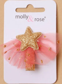 Clips / Glitter stars and pink net beak clips. 3.5cm.