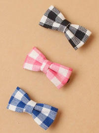 Clip / Checked fabric bow on a forked clip. 3 colours
