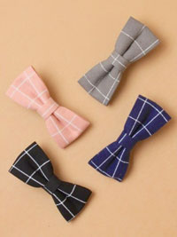 Clip / Checked fabric bow on a forked clip. 4 colours
