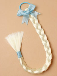 Elastic / Imitation white Plaited pony tail elastic / blue.