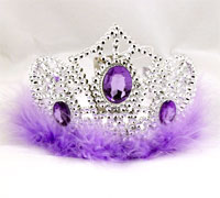 Tiara  / Silver Plastic Tiara with Feather Trim.