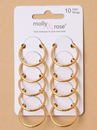 Hair Rings / Card of 10 Gilt 2cm diameter hair rings
