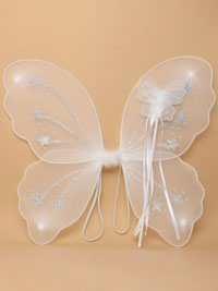 Fairy Wings / wand/Glitter Stars 48x42cm. In White.