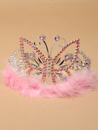 Tiara / Silv plastic Pink tiara with butterfly.
