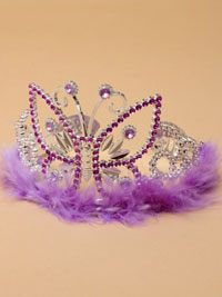 Tiara / Silv plastic Lilac tiara with butterfly