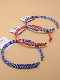 Aliceband / 1cm wide gingham check alicebands . 2pk