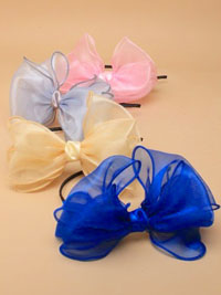 Aliceband / Large Organza fabric bow on ribbon wrapped alice