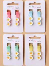 Clips / pair of White daisies on coloured beak clips