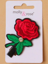 Clip / Embroidered rose with crystal diamante on a clip