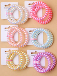 Hair Tie / 2pk metallic telephone cord hair ties.Large