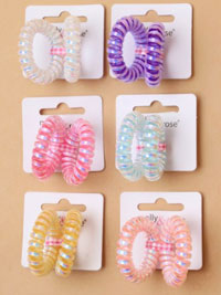 Hair Tie / 2pk metallic telephone cord hair ties.Small