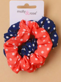 Scrunchie / 2pk polka dot fabric scrunchies.