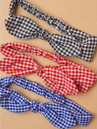 Bandeau / Gingham check Bandeau with bow.