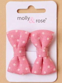 Clips / Card of 2 polka dot fabric beak clips.