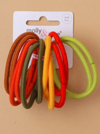 Elastic / 12pk spice coloured 4mm endless elastics.