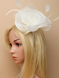 Fascinator / Libby - Cream large sinamay fascinator /alice