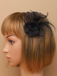Fascinator / Dani -Black sinamay flower and Fascinator.