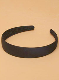 Aliceband / Black low sheen Satin Fabric 2.5cm aliceband.