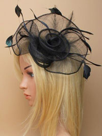 Fascinator / Tiffany - Black loops and swirl fascinator.