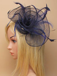 Fascinator / Tiffany - Navy loops and swirl fascinator.