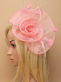 Fascinator / Tiffany -Rose pink loops and swirl fascinator