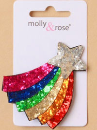 Clip / 6cm Rainbow glitter shooting star on a forked clip.