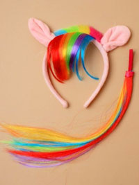 Fancy Dress /White/pink horse alice with rainbow fringe/tail