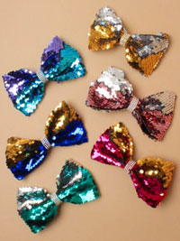 Clip / 12cm reversible Sequin bow /bright colours on a clip