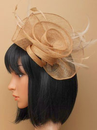 Fascinator / Tiffany - Latte loops sinamay fascinator.