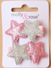 Clips / Pair of glitter stars 3.5cm beak clips.
