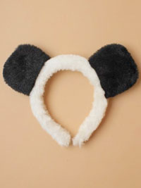 Fancy Dress / fur fabric Panda ears aliceband.