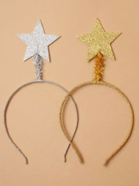 Xmas / Glitter aliceband with large silv / gold star.