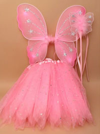 SET / Small Wings / tutu and wand set in pink.