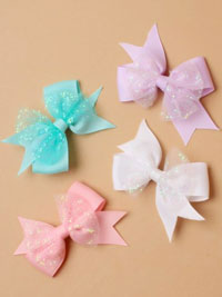 Clip / Grossgrain layered ribbon bow. 4.5cm