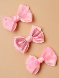 Clip / Grossgrain layered ribbon bow. 4.5cm.