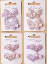 Clip / Card of 2 glitter heart / butterfly clips.
