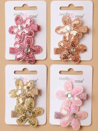 Clip / Card of 2 sequin daisy clips.