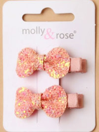 Clip / Card of 2 chunky glitter bow clips.